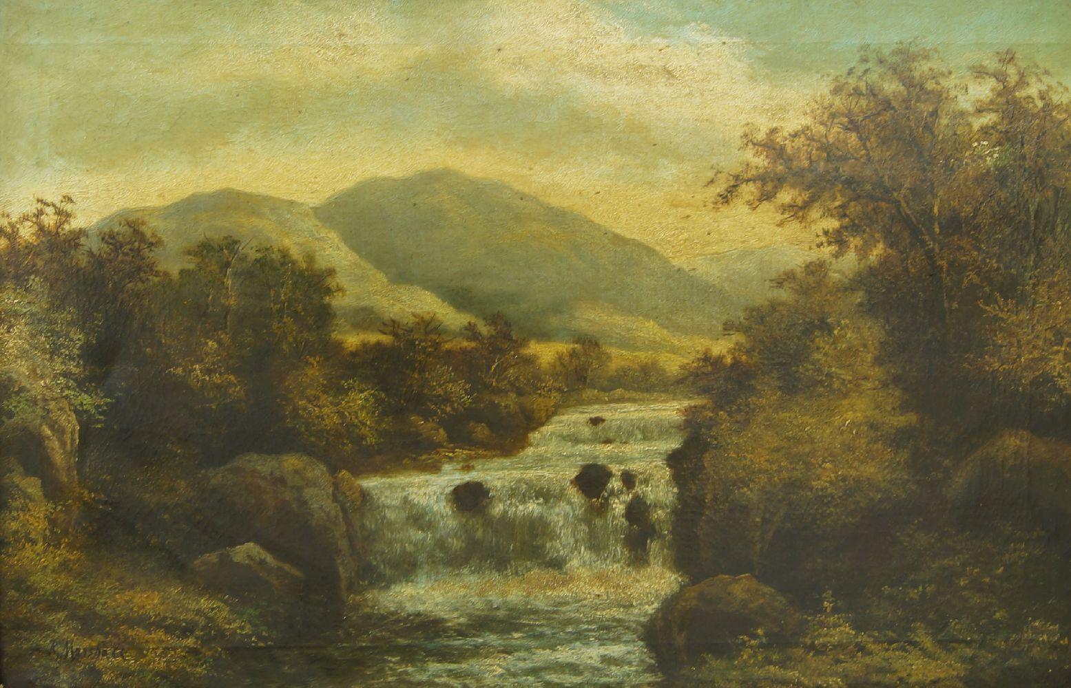 Roberto Angelo Kittermaster Marshall, British 1849-1926- Highland river landscape; oil on canvas,