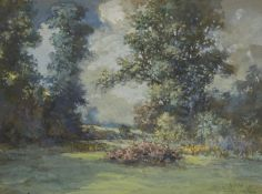 British School, mid-20th century- View of a garden; oil on board, 47x57cm: together with a gouache