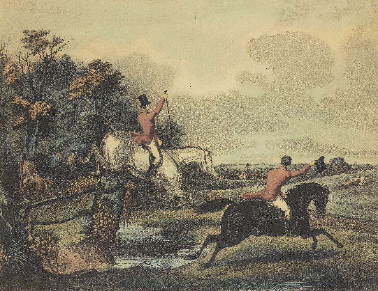 After Francis Calcraft Turner, British, c.1782-1846- Bachelor's Hall series; hand-coloured