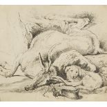 Follower of Sir Edwin Landseer RA, British 1802-1873- A Deer and a Dog; pencil, bears inscription to