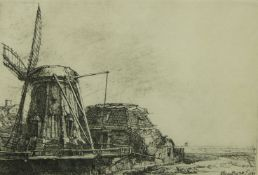 After Rembrandt Harmensz. van Rijn, Dutch 1606-1669- The Windmill; etching, signed and dated 1641,