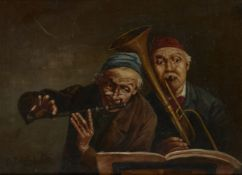 Ettore Ascenzi, Italian, mid-late 19th Century- Older man and young boy smoking a pipe and Two old