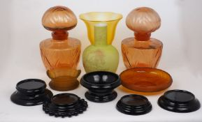 A pair of large 'Faberge' amber glass 'FLEURS DU MONDE' perfume display bottles, c.1972, moulded