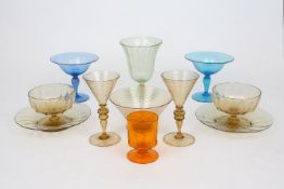 A collection of Murano Salviati style glassware, early 20th century and later, to include: a green