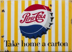 A Pepsi cola 'take home a carton' enamel advertising sign, 26cm x 35.5cmPlease refer to department