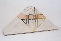 A tessellated white marble box in the form of a triangular gable, 20th Century, the hinged lid