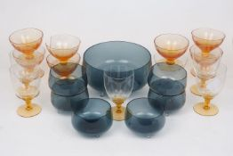 A grey glass trifle bowl set, comprising: a trifle bowl, as of circular plain polished form,