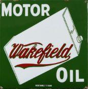 A Wakefield Motor Oil motor enamel advertising sign, Patent Enamel Co Ltd, Birmingham, 43cm x