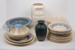 Susie Cooper (1902-1995), an earthenware part dinner service c.1935, printed markers marks
