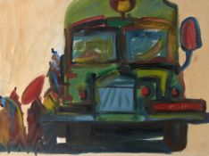 Nyein Chan Su, Burmese, b.1973- Figures boarding a green bus; oil on canvas, initialled and dated