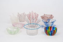 A selection Venetian glass bowls and dishes, early 20th century and later, in a variety of colour