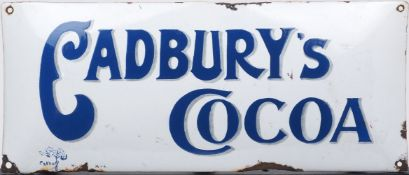 A Cadbury's Cocoa enamel advertising sign, 15cm x 35cmPlease refer to department for condition