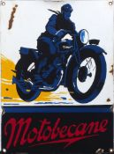 A French 'Motobecane' enamel advertising sign, 35.5cm x 26cmPlease refer to department for condition