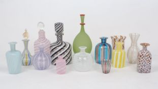 A selection Venetian glass bottles and vases, early 20th century and later, to include a decanter