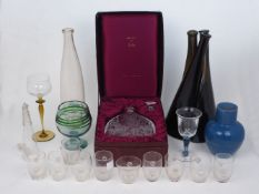 A collection of glassware, early 20th century and later, to include: a set of three interlocking
