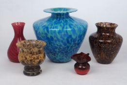 A decorative studio glass mottled blue vase, of conical form, with flared flat rim, 27.5cm high,