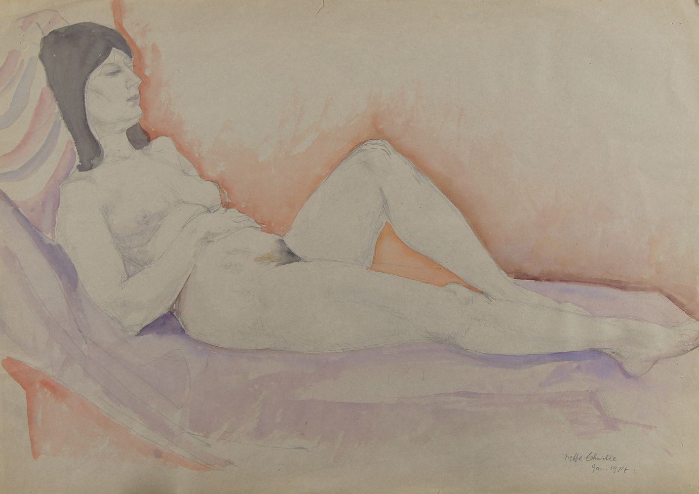 Fyffe Christie, British 1918-1979- Reclining model; pencil and watercolour, signed and dated 1974,