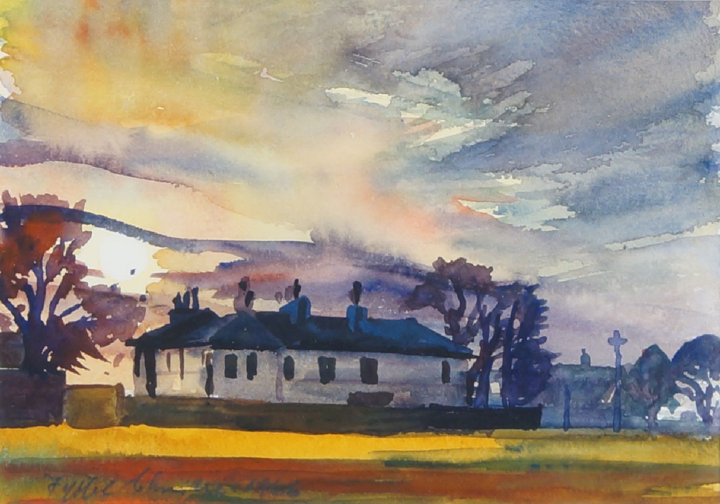 Fyffe Christie, British, 1918-1979- Millhouse, Blackheath Sunset; watercolour, signed and dated