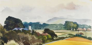 Fyffe Christie, British 1918-1979- Sussex landscape; watercolour, 20x39.5cm: together with two other