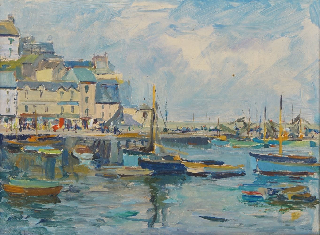 Harold J Bowyer, British, early-mid 20th century- Brixham; oil on board, signed, signed, titled