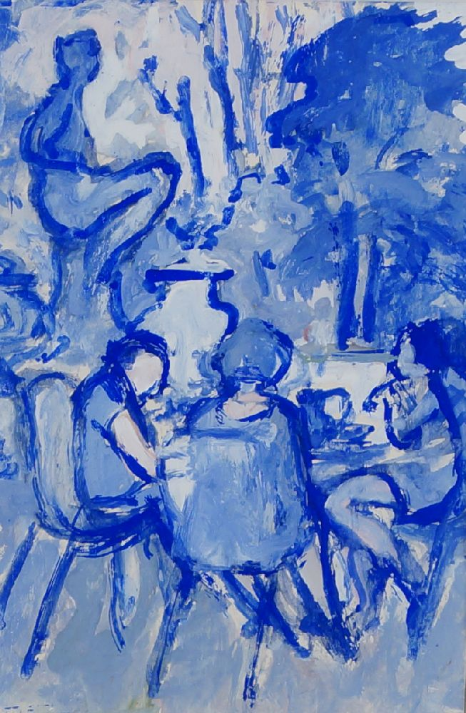 Fyffe Christie, British 1918-1979- Garden Study in blue; gouache, 17x11cm: together with two other