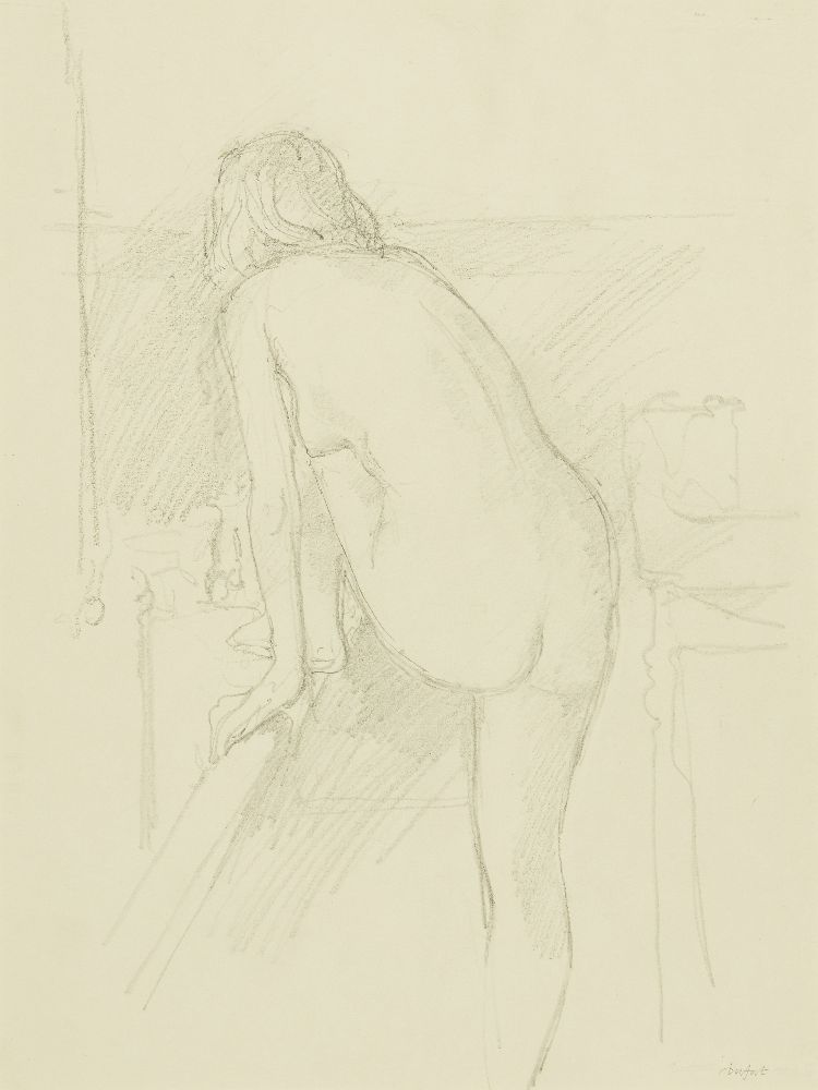 Antony Dufort, British b.1948- Ange with one foot on the bath; pencil, signed, bears inscription