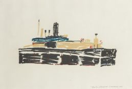 Charles Shearer, Scottish b.1956- Auxiliary Craft, Chatham; pastel, signed, titled and dated 1983,