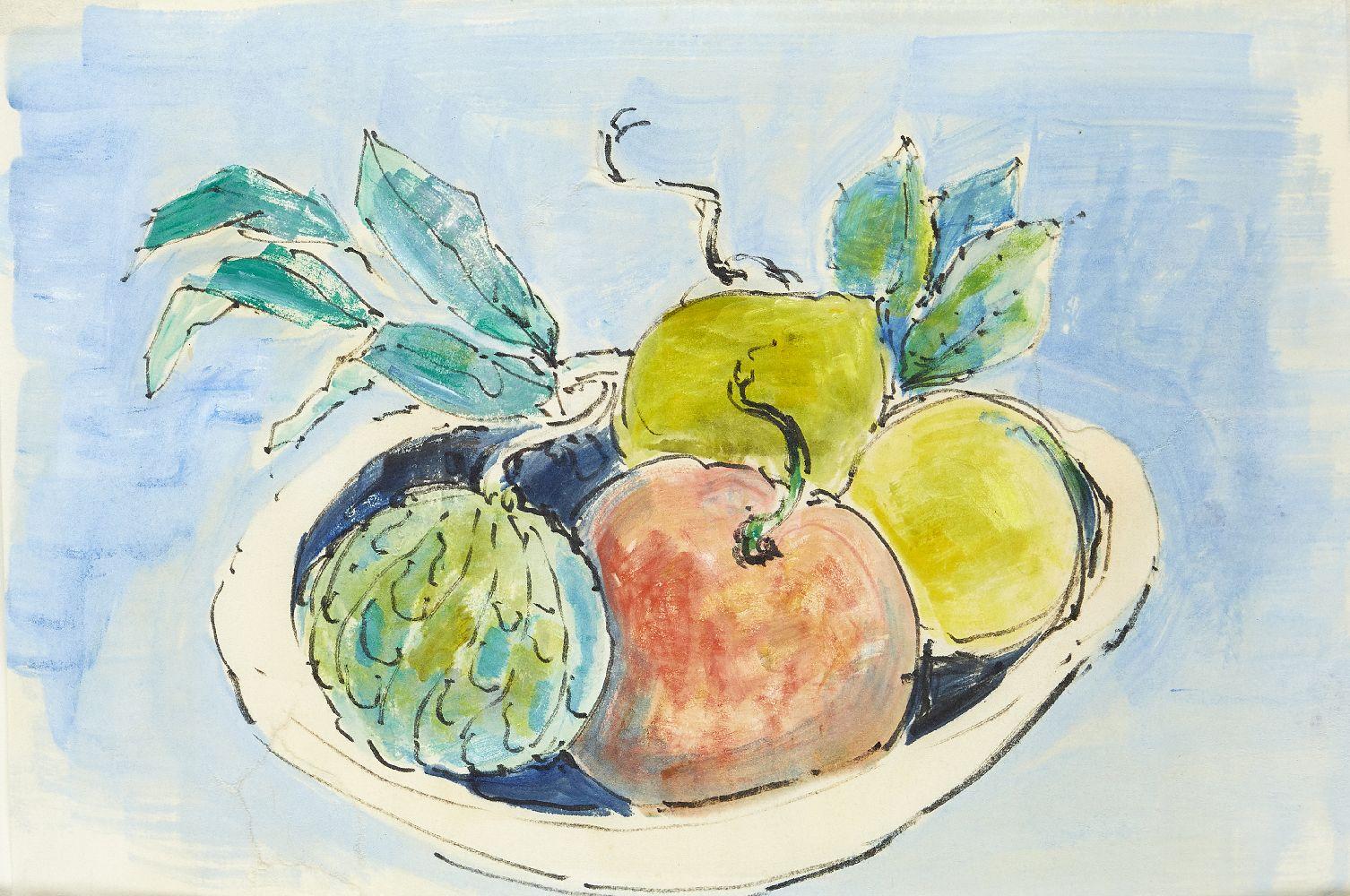 Modern British School, mid-late 20th century- Fruit Basket; watercolour and black felt tip pen, - Image 2 of 2