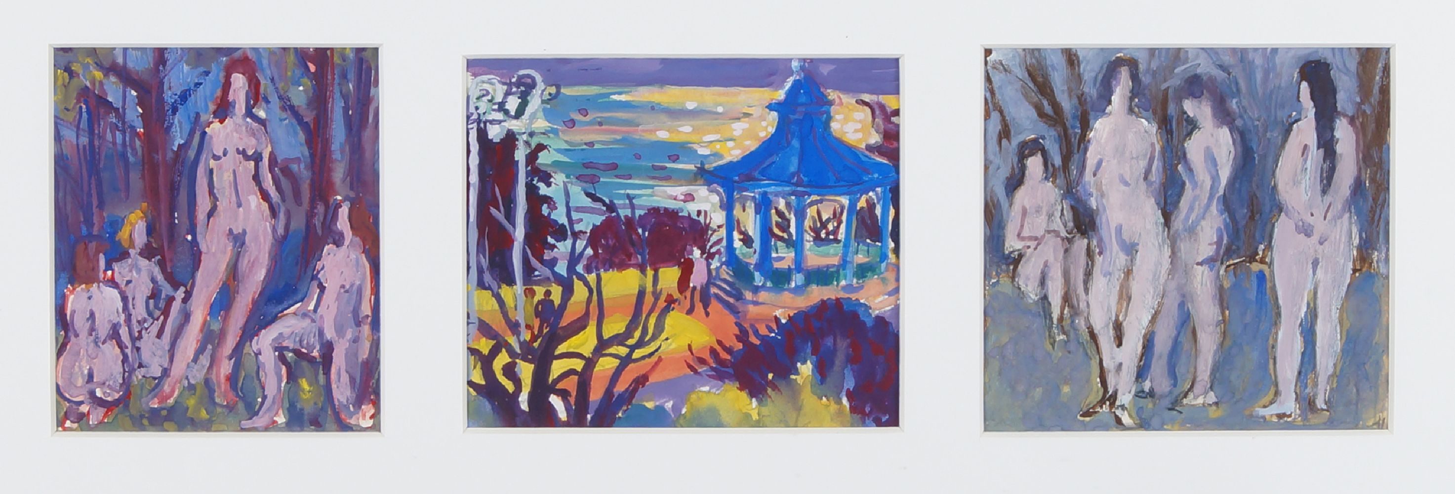 Fyffe Christie, British 1918-1979- The Bandstand Greenwich and two figurative studies; gouache, - Image 2 of 2