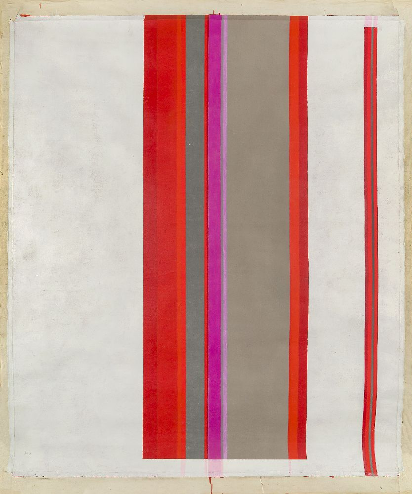 John Copnall, British 1928-2007- Red, Purple, etc with Solid White, 1969; mixed media on canvas,
