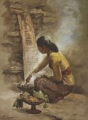 S Toyo, Indonesian 1935-2000- Woman cooking; oil on canvas, signed, 65x50cmPlease refer to