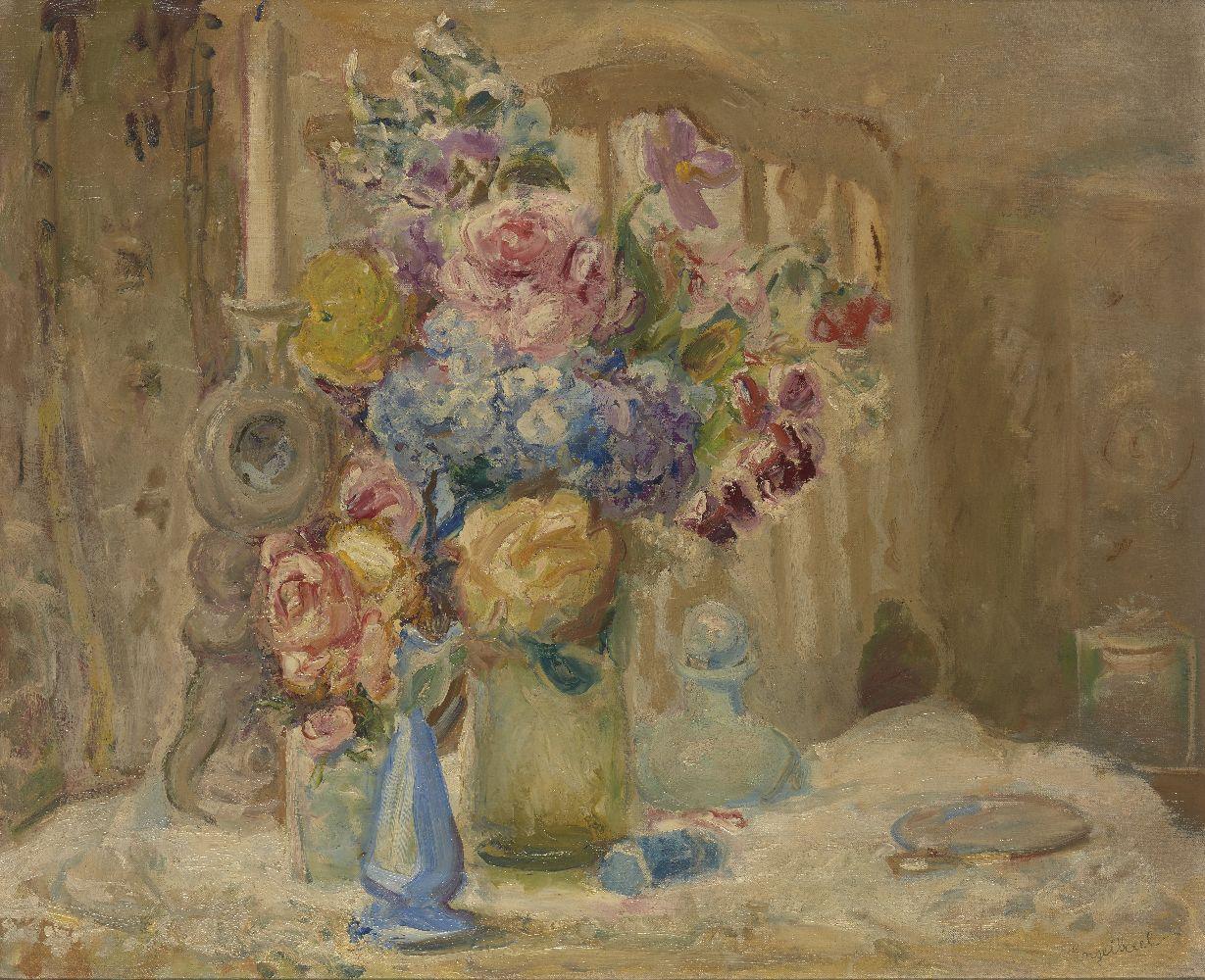 Florence Engelbach, Spanish/British 1872-1951- Flowers; oil on canvas, signed, 60x71.5cm (ARR)Please