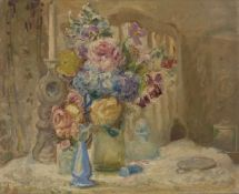 Florence Engelbach, Spanish/British 1872-1951- Flowers; oil on canvas, signed, 60x71.5cm (ARR)Please