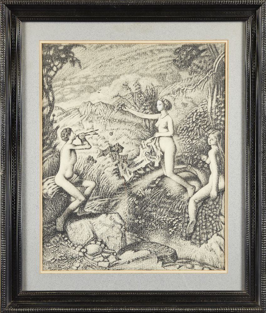 Francis Helps RBA, British 1890-1972- Pan and Nymphs; pencil on paper, 64x50cm, (ARR) Provenance: - Image 3 of 3