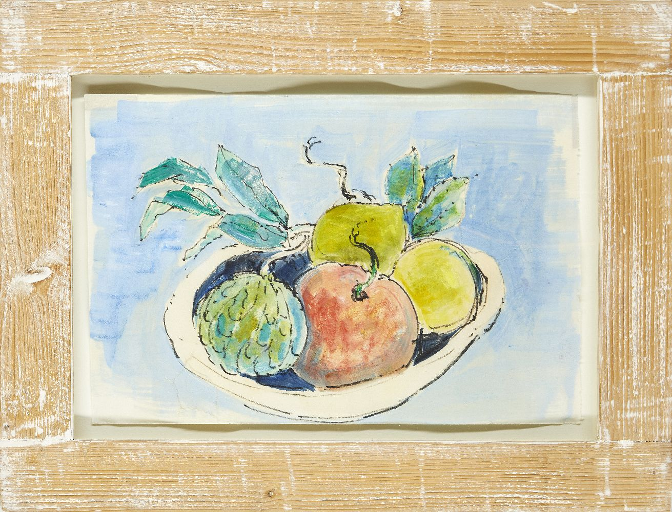 Modern British School, mid-late 20th century- Fruit Basket; watercolour and black felt tip pen,
