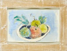 Modern British School, mid-late 20th century- Fruit Basket; watercolour and black felt tip pen,