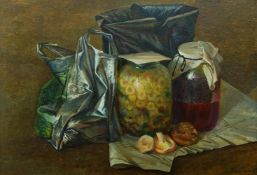 Anatoly Rybkin, Russian, b.1949- Still life with plastic bag; oil on panel, signed and dated 1989,