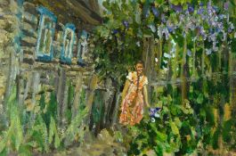 Alexander Nemtsov, Russian, b.1953- Woman with flowers in front of a house; Oil on panel, 34.