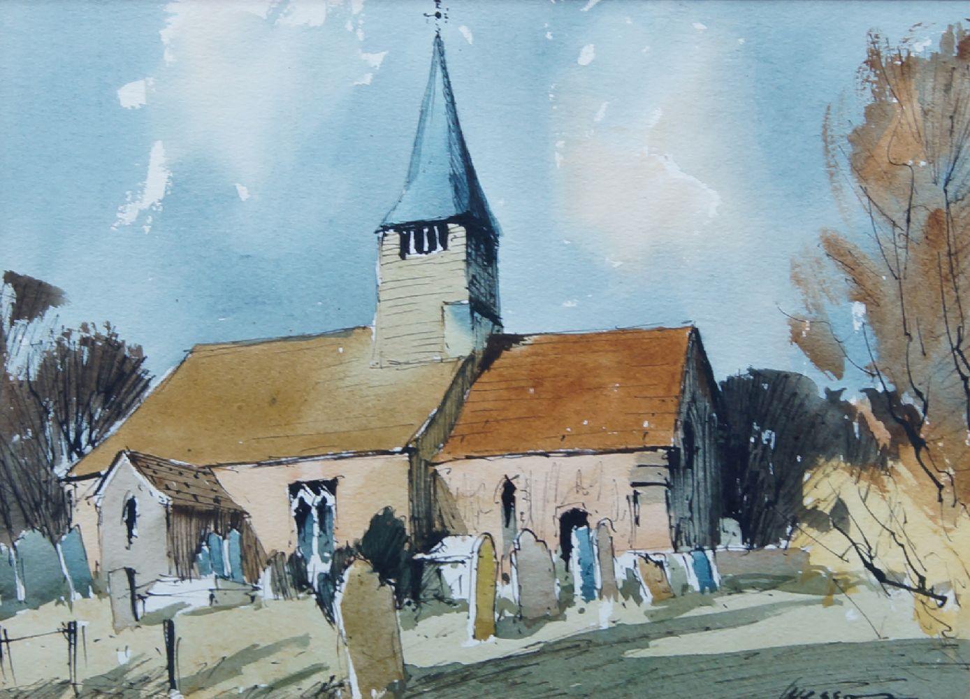 Edward Wesson RI RBA, British 1910-1983- West Chiltington Church; watercolour and pen and black ink,