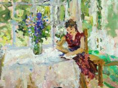 Alexander Nemtsov, Russian, b.1953- Woman with book; oil on panel, 34x45cmPlease refer to department