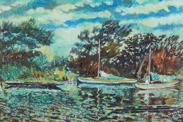 Welby Arthur Skinner, British School, early 20th century- Backwater, Sunbury-on-Thames; oil on