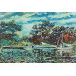 Welby Arthur Skinner, British School, early 20th century- Backwater, Sunbury-on-Thames; oil on