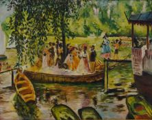 G Bourguignon, French, mid-20th century- Boating party on a river; oil on board, signed, 35x44.