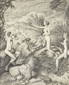 Francis Helps RBA, British 1890-1972- Pan and Nymphs; pencil on paper, 64x50cm, (ARR) Provenance: