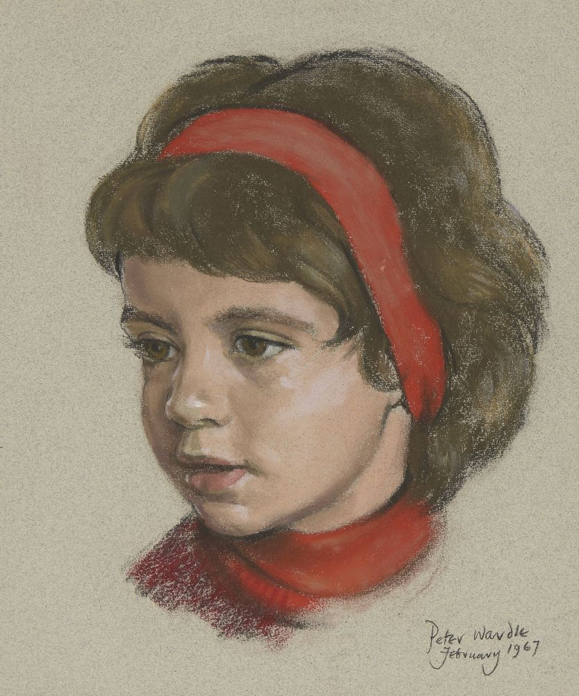 Peter Wardle, British 1929-2016- Portrait of a young girl wearing a red headband; pastel on blue