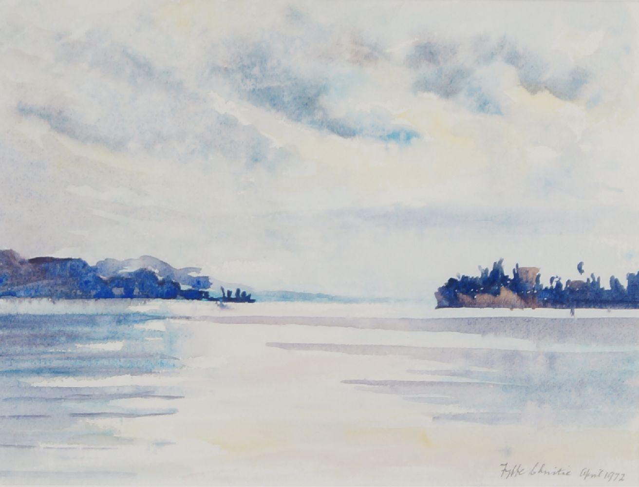 Fyffe Christie, British 1918-1979- South Coast, Folkestone, Kent; watercolour, 13x22cm: together