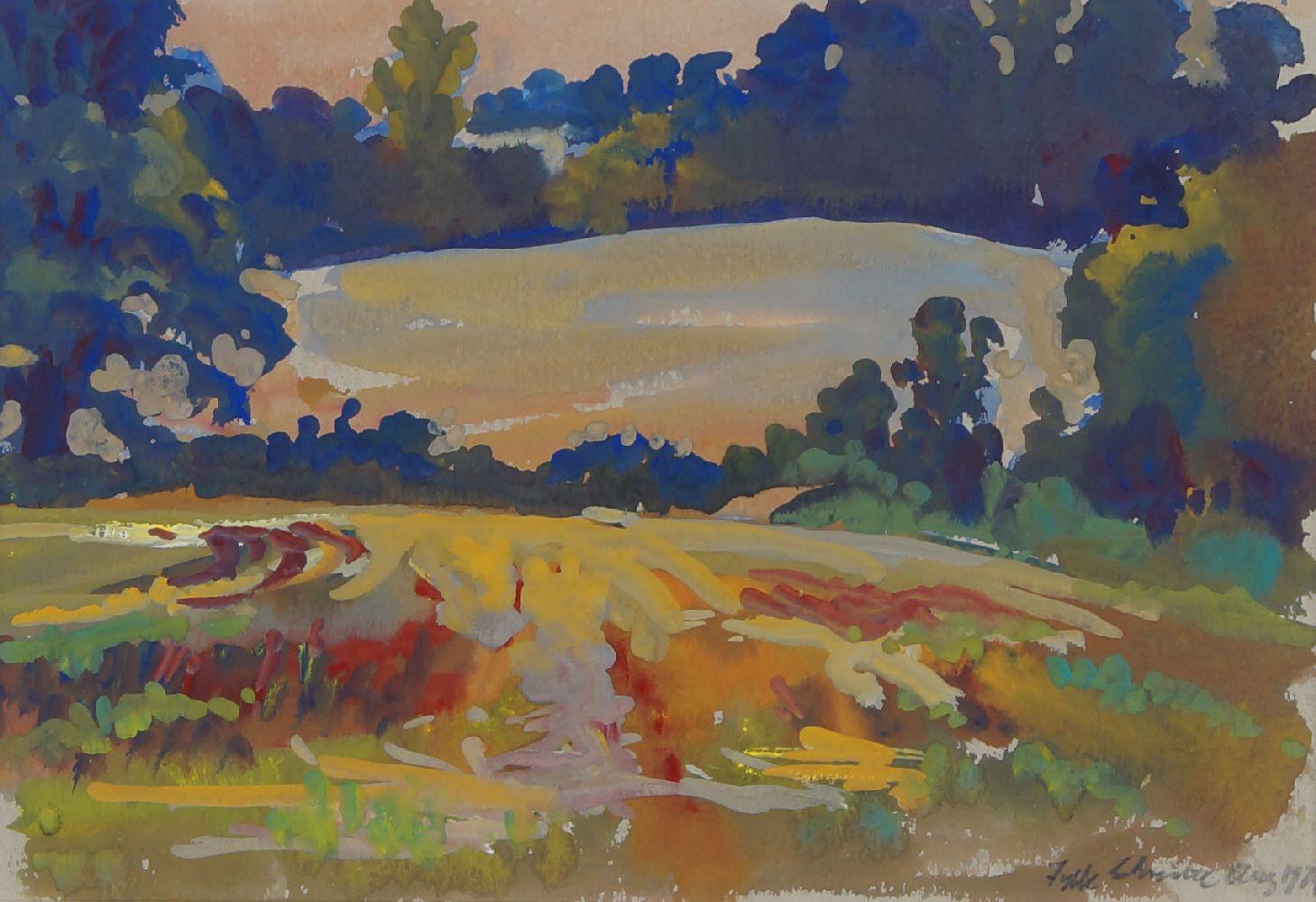 Fyffe Christie, British 1918-1979- Fields Eysford; gouache, signed and dated 1974, 17x24.5cm:
