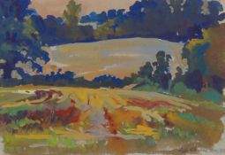 Fyffe Christie, British 1918-1979- Fields Eysford; gouache, signed and dated 1974, 17x24.5cm: