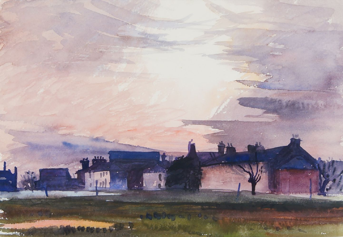 Fyffe Christie, British, 1918-1979- Millhouse, Blackheath Sunset; watercolour, signed and dated - Image 3 of 3