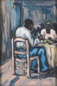 Bmngu, East African School, mid-late 20th century- Figures in a café; oil on board, signed and dated